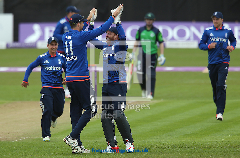 England players celebrate after running Ireland's Paul Stirling out during the One Day International match at the Village, Malahide<br /> Picture by Lorraine O'Sullivan/Focus Images Ltd +353 872341584<br /> 08/05/2015