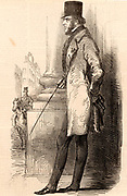 Lord George Frederick Cavendish-Scott-Bentinck, known as Lord George Bentinck (1802-1848). English Conservative statesman.  Engraving after a sketch made shortly before his death.  From 'The Illustrated London News' (London, 1848).