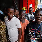 Tensions arise between supporters and opponents of Charles Taylor as the verdict of the accused war criminal is about to be read in The Hague. Monrovia, Liberia, April 2012.