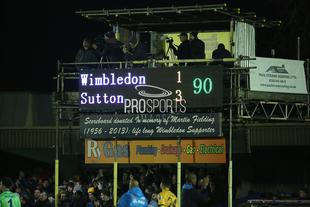 Scoreboard showing Wimbledon 1 Sutton 3 during the The FA Cup third round replay match between AFC Wimbledon and Sutton United at the Cherry Red Records Stadium, Kingston, England on 17 January 2017. Photo by Matthew Redman.