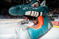 KELOWNA, CANADA - MARCH 11: Jackson Whistle #1 of Kelowna Rockets enters the ice against the Victoria Royals on March 11, 2015 at Prospera Place in Kelowna, British Columbia, Canada.  (Photo by Marissa Baecker/Shoot the Breeze)  *** Local Caption *** Jackson Whistle;