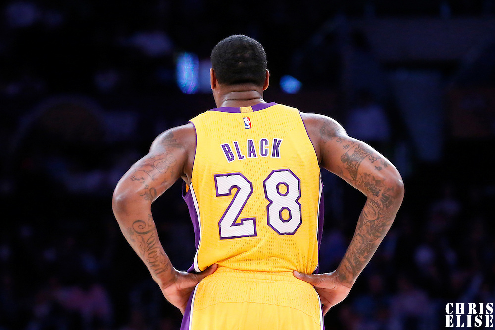 10 March 2015: Los Angeles Lakers forward Tarik Black (28) rests during the Los Angeles Lakers 93-85 victory over the Detroit Pistons, at the Staples Center, Los Angeles, California, USA.