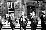 Kevin Boland (2nd left), Neil Blaney, and businessman Gerry Jones leaving Leinster House. <br /> <br /> 03/06/1970