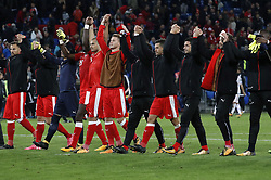 BASEL, Oct. 8, 2017  Players of Switzerland celebrate after the FIFA World Cup 2018 Qualifiers Group B match between Switzerland and Hungary in Basel, Switzerland, Oct. 7, 2017. Switzerland won 5-2. (Credit Image: © Ruben Sprich/Xinhua via ZUMA Wire)