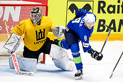 Laurynas Lubys of Lithuania and Tadej Cimzar of Slovenia during ice hockey match between Slovenia and Lithuania at IIHF World Championship DIV. I Group A Kazakhstan 2019, on May 5, 2019 in Barys Arena, Nur-Sultan, Kazakhstan. Photo by Matic Klansek Velej / Sportida