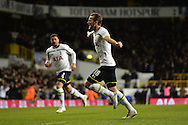 Harry Kane of Tottenham Hotspur celebrates scoring his sides first goal to make the scoreline 1-1 during the Barclays Premier League match between Tottenham Hotspur and Chelsea  at White Hart Lane, London<br /> Picture by Richard Blaxall/Focus Images Ltd +44 7853 364624<br /> 01/01/2015