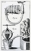 apparatus used in his experiments on the analysis of air. From his 'Vegetable Satiks', 1727.