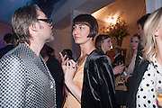 DAVID DOWSON; ERIN O'CONNOR, The Vogue Festival 2012 in association with Vertu- cocktail party. Royal Geographical Society. Kensington Gore. London. SW7. 20 April 2012.