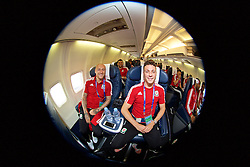 DINARD, FRANCE - Wednesday, June 15, 2016: Wales' David Cotterill and James Chester depart from Aeroport De Dinard Pleurtuit Saint-Malo as they head to Lens for their Group Stage MD 2 game of the UEFA Euro 2016 Championship against England. (Pic by David Rawcliffe/Propaganda)