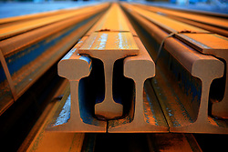 SPAIN GIJON 3OCT08 - Steel rails lie stored in the port of Gijon, northern Spain.....jre/Photo by Jiri Rezac....© Jiri Rezac 2008....Contact: +44 (0) 7050 110 417..Mobile:  +44 (0) 7801 337 683..Office:  +44 (0) 20 8968 9635....Email:   jiri@jirirezac.com..Web:    www.jirirezac.com....All images © Jiri Rezac 2008. All rights reserved.