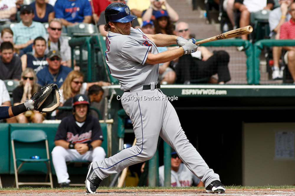 March 5, 2011; Lake Buena Vista, FL, USA; New York Mets left fielder Nick Evans (6) during a spring training exhibition game against the Atlanta Braves at Disney Wide World of Sports complex.  Mandatory Credit: Derick E. Hingle