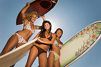 Three female surfers standing holding surfboards outdoors low angle view