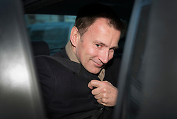 © Licensed to London News Pictures. 12/02/2016. London, UK. Health Secretary Jeremy Hunt leaves home by car. Yesterday it was announced that new contracts will be forced on junior doctors after they failed to reach agreement with the government.  Photo credit: Peter Macdiarmid/LNP