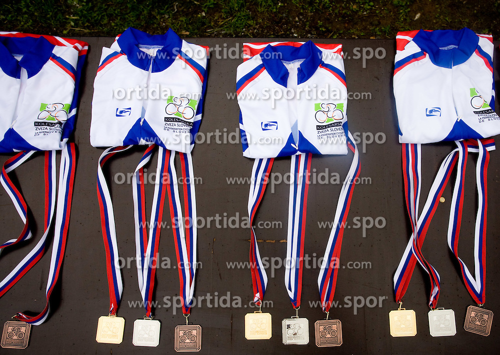 Medals at Slovenian National Championships in Road cycling, 178 km, on June 28 2009, in Mirna Pec, Slovenia. (Photo by Vid Ponikvar / Sportida)