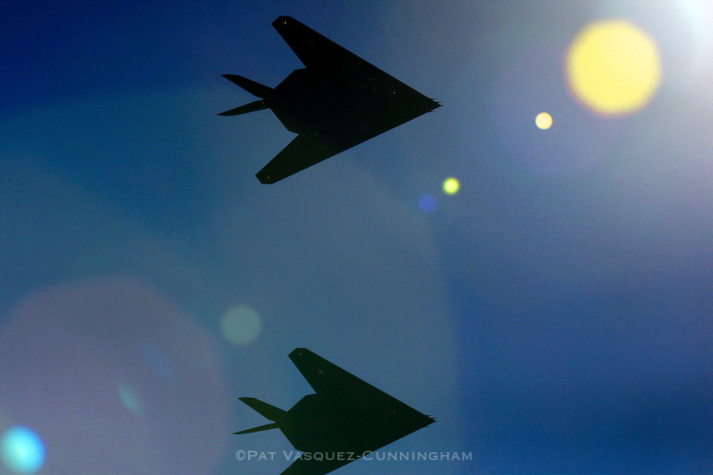 Alamogordo, N.M. Sept. 20, 2001.  Two F-117A Nighthawk Stealth Fighter depart Holloman Air Force Base.  (Pat Vasquez-Cunningham/Gamma for TIME)