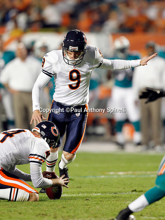 Chicago Bears place kicker Robbie Gould (9) kicks a second quarter field goal that gives the Bears a 6-0 lead during the NFL week 11 football game against the Miami Dolphins on Thursday, November 18, 2010 in Miami Gardens, Florida. The Bears won the game 16-0. (©Paul Anthony Spinelli)