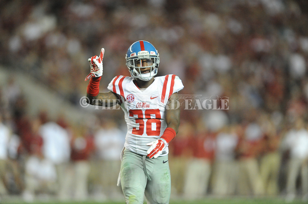 Ole Miss Rebels defensive back Mike Hilton (38) reacts to deflecting a pass vs. Alabama at Bryant-Denny Stadium in Tuscaloosa, Ala. on Saturday, September 19, 2015. Ole Miss won 43-37.