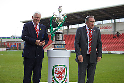 WREXHAM, WALES - Monday, May 2, 2016: FAW life vice president Phil Pritchard and Dai Alun Jones during the 129th Welsh Cup Final at the Racecourse Ground. (Pic by David Rawcliffe/Propaganda)