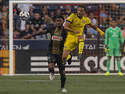 July 26, 2017 - Chester, PA, United States of America - Columbus Crew SC Midfielder ARTUR DE LIMA JUNIOR (7) passes the ball as Philadelphia Union Defender GILIANO WIJNALDUM (32) defends in the first half of a Major League Soccer match between the Philadelphia Union and Columbus Crew SC Wednesday, July. 26, 2017, at Talen Energy Stadium in Chester, PA. (Credit Image: © Saquan Stimpson via ZUMA Wire)