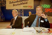31 JAN 1998, DORTMUND/GERMANY:<br /> Johannes Rau, SPD, Ministerpr&auml;sident Nordrhein-Westfalen, und Wolfgang Clement, SPD, Wirtschaftsminister Nordrhein-Westfalen, auf dem Landesparteitag der SPD NRW<br /> IMAGE: 19980131-01/03-22