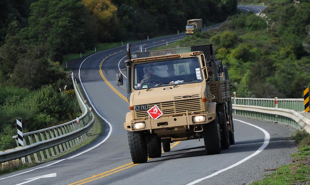 New Zealand Army Unimog, Mohaka Bridge, SH2, Mohaka, New Zealand, Sunday, May 05, 2013. Credit:SNPA / Ross Setford