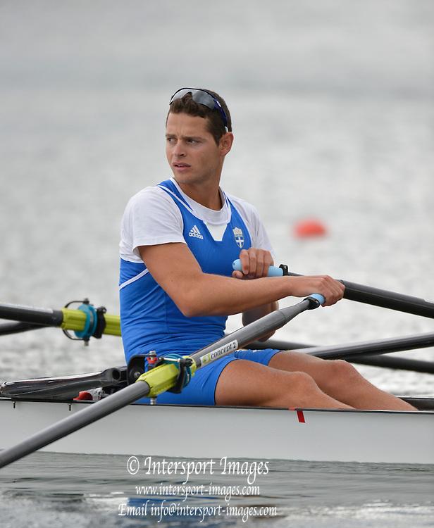 Eton Dorney, Windsor, Great Britain,..2012 London Olympic Regatta, Dorney Lake. Eton Rowing Centre, Berkshire[ Rowing]...Description;  GRE LM2X. . Panagiotis MAGDANIS (s)  Dorney Lake. 11:35:38  Thursday  02/08/2012.  [Mandatory Credit: Peter Spurrier/Intersport Images].Dorney Lake, Eton, Great Britain...Venue, Rowing, 2012 London Olympic Regatta...