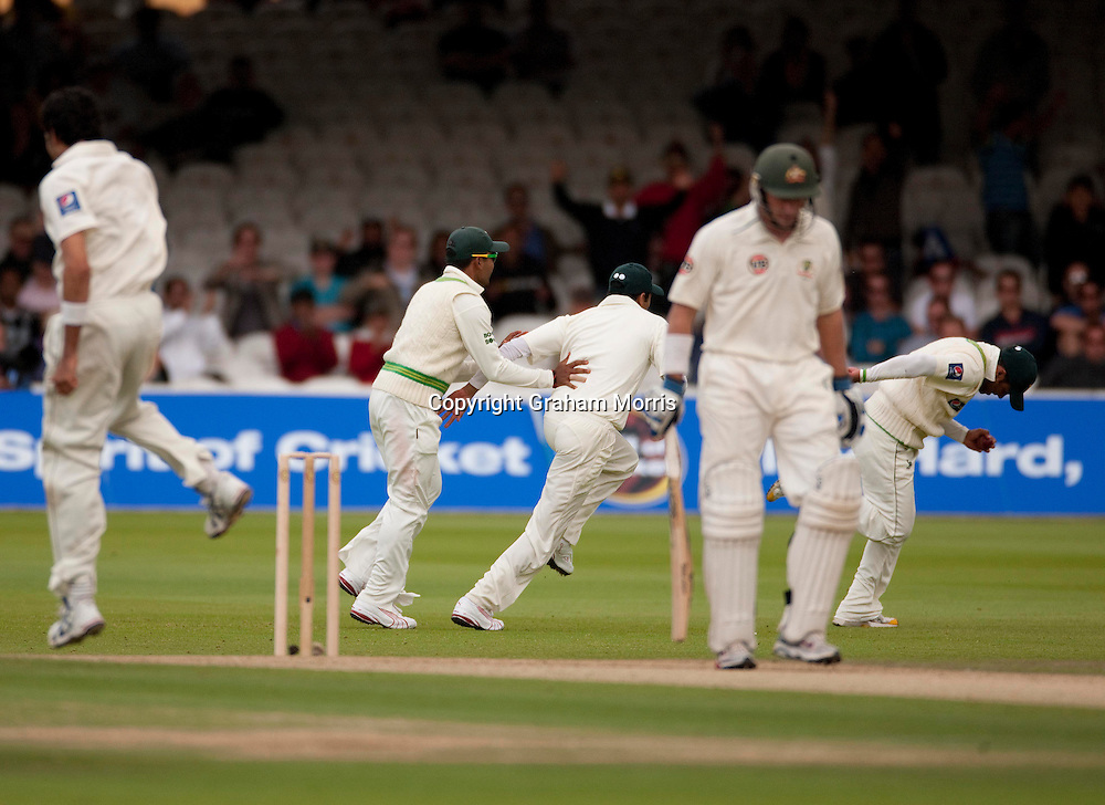 Michael Hussey is caught first ball off Umar Gul during the MCC Spirit of Cricket Test Match between Pakistan and Australia at Lord's.  Photo: Graham Morris (Tel: +44(0)20 8969 4192 Email: sales@cricketpix.com) 14/07/10