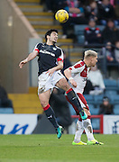 Dundee's Julen Etxabeguren clears from Rangers' Martyn Waghorn - Dundee v Rangers in the Ladbrokes Scottish Premiership at Dens Park, Dundee.Photo: David Young<br /> <br />  - © David Young - www.davidyoungphoto.co.uk - email: davidyoungphoto@gmail.com