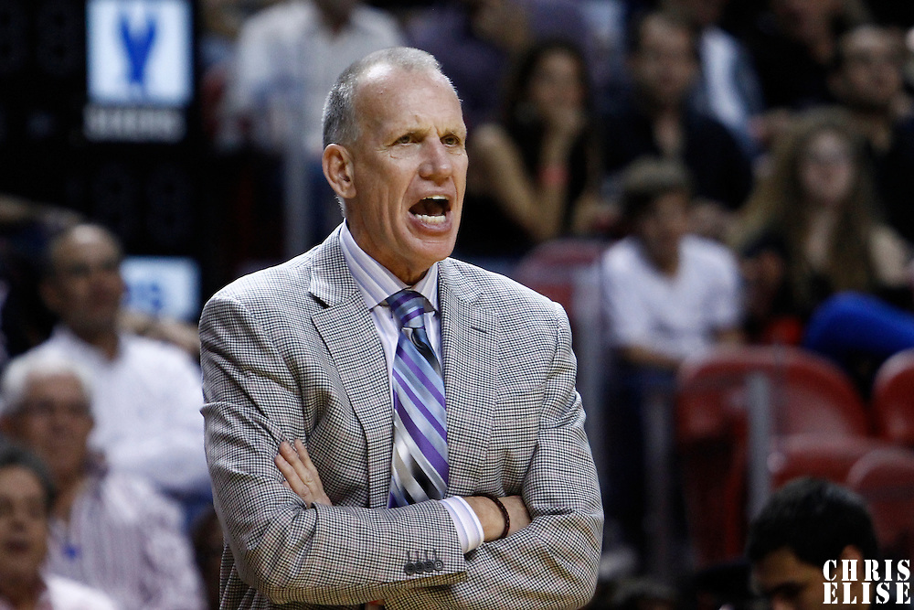 21 January 2012: Philadelphia Sixers head coach Doug Collins yells during the Miami Heat 113-92 victory over the Philadelphia Sixers at the AmericanAirlines Arena, Miami, Florida, USA.