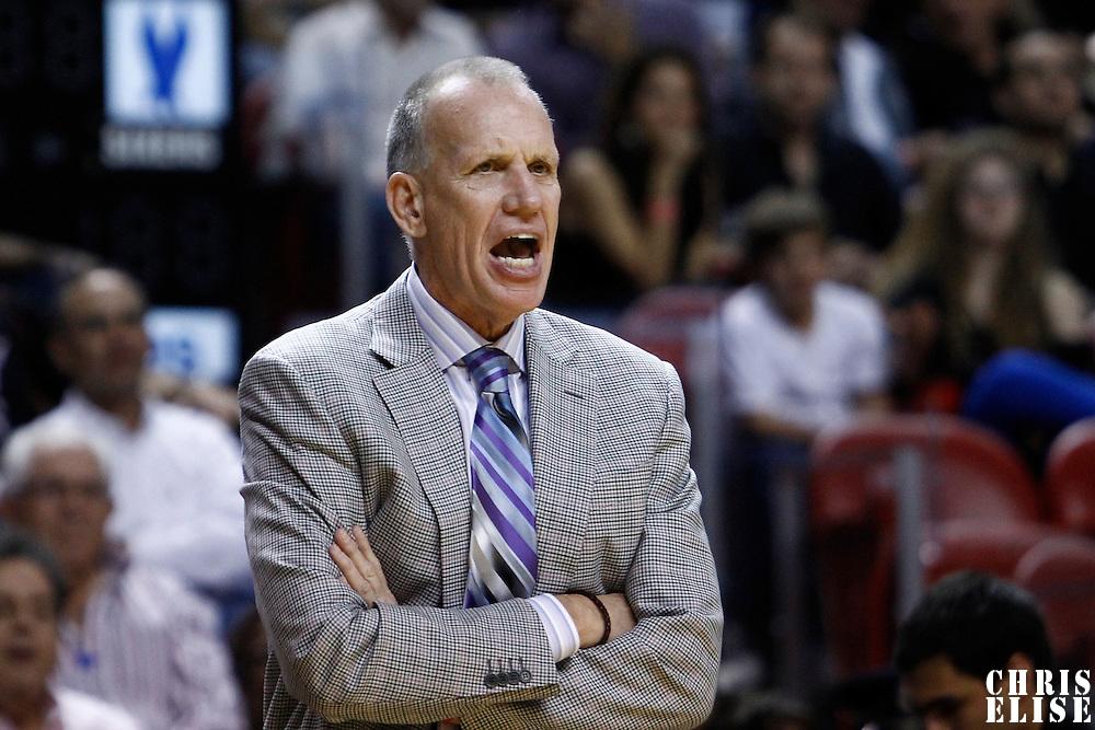 21 January 2012: Philadelphia Sixers head coach Doug Collins yells during the Miami Heat 113-92 victory over the Philadelphia Sixers at the AmericanAirlines Arena, Miami, Florida, USA.