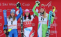 26.01.2018, Lenzerheide, SUI, FIS Weltcup Ski Alpin, Lenzerheide, alpine Kombination, Damen, Flower Zeremonie, im Bild Marta Bassino (ITA, 2, Platz), Wendy Holdener (SUI, 1. Platz) and Ana Bucik (Slo, 3. Platz) // Marta Bassino (ITA, 2, Platz), Wendy Holdener (SUI, 1. Platz) and Ana Bucik (Slo, 3. Platz) during the Flowers ceremony for the women's Alpine combination of FIS Ski Alpine World Cup in in Lenzerheide, Austria on 2018/01/26. EXPA Pictures © 2018, PhotoCredit: EXPA/ Sammy Minkoff<br /> <br /> *****ATTENTION - OUT of GER*****