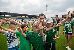 Branko Ilic of NK Olimpija and supporters of Olimpija celebrate after they became Slovenian National Champion 2018 after the football match between NK Domzale and NK Olimpija Ljubljana in 36th Round of Prva liga Telekom Slovenije 2017/18, on May 27, 2018 in Sports park Domzale, Domzale, Slovenia. Photo by Vid Ponikvar / Sportida