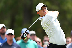 May 4, 2019 - Charlotte, NC, U.S. - CHARLOTTE, NC - MAY 04: Rory Mcllroy plays his shot from the third tee during round three of the Wells Fargo Championship on May 04, 2019 at Quail Hollow Club in Charlotte,NC. (Photo by Dannie Walls/Icon Sportswire) (Credit Image: © Dannie Walls/Icon SMI via ZUMA Press)