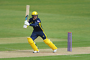 Tom Alsop of Hampshire batting as finds the boundary off the first ball of the innings during the Royal London One Day Cup match between Hampshire County Cricket Club and Middlesex County Cricket Club at the Ageas Bowl, Southampton, United Kingdom on 23 April 2019.