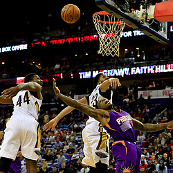 Nov 4, 2016; New Orleans, LA, USA; Phoenix Suns guard Eric Bledsoe (2) shoots over New Orleans Pelicans forward Solomon Hill (44) and forward Anthony Davis (23) during overtime of a game at the Smoothie King Center. The Suns defeated the Pelicans 112-111 in overtime. Mandatory Credit: Derick E. Hingle-USA TODAY Sports