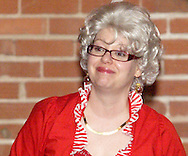 """Mrs. Claus (aka Tamra Francis of Dayton) during Mayhem & Mystery's production of """"I'll Be Home Shopping for Christmas"""" at the Spaghetti Warehouse in downtown Dayton, Monday, November 9, 2009."""