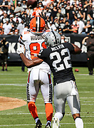 Sep 30, 2018; Oakland, CA, USA;  Browns wide receiver Rashard Higgins (81) catches a 21-yard pass on front of Raiders cornerback Rashaan Melvin (22) during a game between the Oakland Raiders and the Cleveland Browns. The Raiders defeated the Browns 45-42 in overtime. Mandatory Credit: Spencer Allen-Image of Sport