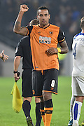 Hull City midfielder Tom Huddlestone celebrates hull city's win during the Capital One Cup Fourth Round match between Hull City and Leicester City at the KC Stadium, Kingston upon Hull, England on 27 October 2015. Photo by Ian Lyall.