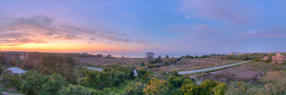 Panoramic scene from Ocracoke Island, NC..Print Size (in inches): 15x5; 24x8; 36x12; 48x15; 60x19; 72x24
