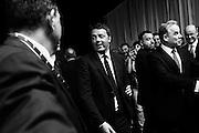 Il Presidente del Consiglio, Matteo Renzi, durante la presentazione del nuovo brand dell'Alitalia, Aeroporto di Fiumicino, Roma 04 Giugno 2015. Christian Mantuano/ OneShot <br /> <br /> Italian Premier, Matteo Renzi, during the presentation of new brand of Alitalia, Fiumicino Airport, Rome June 4, 2015. Christian Mantuano/ OneShot