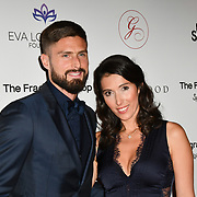 Olivier Giroud and Jennifer Giroud Arrivers at The Global Gift Gala red carpet - Eva Longoria hosts annual fundraiser in aid of Rays Of Sunshine, Eva Longoria Foundation and Global Gift Foundation on 2 November 2018 at The Rosewood Hotel, London, UK. Credit: Picture Capital