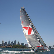 Wild Oats XI heads for victory in the Solas Big Boat Challenge on Sydney Harbour on December 16, 2008 in Sydney, Australia. The race conducted in the waters around Sydney Harbour, is a preliminary tournament to the Rolex Sydney Hobart Yacht race 2008 which will start of Boxing Day, December 26th.. Wild Oats XI achieved a hat trick of line honours wins when it won the Sydney to Hobart race last year equaling Morna's record achieved in the 1946-1948 races. Wild Oats XI will return to attempt a fourth successive line honours win in this years race. Photo Tim Clayton