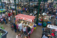 St  George's Market, Belfast, N Ireland, UK, GV, General View, August, 2019, 201908241260<br /><br />Copyright Image from Victor Patterson, Belfast, UK<br /><br />t: +44 28 9066 1296 (from Rep of Ireland 048 9066 1296)<br />m: +44 7802 353836<br /><br />victorpattersonbelfast@gmail.com<br />www.victorpatterson.com<br /><br />Please see my Terms and Conditions of Use at https://www.victorpatterson.com/page2<br />It is IMPORTANT that you familiarise yourself with them.<br /><br />Images used online incur an additional cost and must be visibly watermarked i.e. © Victor Patterson within the body of the image and copyright metadata must not be deleted. Images used on the Internet have a size restriction of 4kbs and are chargeable at rates available at victorpatterson.com.<br /><br />This image is only available for the use of the download recipient i.e. television station, newspaper, magazine, book publisher, etc, and must not be passed on to any third party. It is also downloaded on condition that each and every subsequent usage is notified within 7 days to victorpattersonbelfast@gmail.com<br /><br />The right of Victor Patterson to be identified as the author is asserted in accordance with The Copyright Designs And Patents Act (1988). All moral rights are asserted.