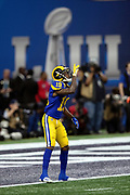 Los Angeles Rams wide receiver JoJo Natson (19) points skyward as he gets set to field a kickoff during the NFL Super Bowl 53 football game against the New England Patriots on Sunday, Feb. 3, 2019, in Atlanta. The Patriots defeated the Rams 13-3. (©Paul Anthony Spinelli)