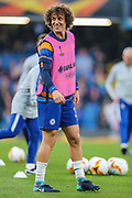 Chelsea defender David Luiz (30) warms up prior to the Europa League quarter-final, leg 2 of 2 match between Chelsea and Slavia Prague at Stamford Bridge, London, England on 18 April 2019.
