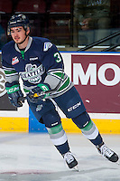 KELOWNA, CANADA - FEBRUARY 13: Anthony Bishop #3 of the Seattle Thunderbirds warms up against the Kelowna Rockets on February 13, 2017 at Prospera Place in Kelowna, British Columbia, Canada.  (Photo by Marissa Baecker/Shoot the Breeze)  *** Local Caption ***