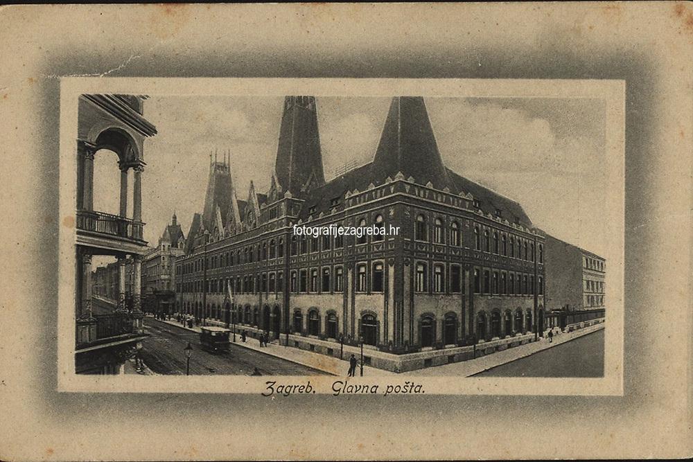 Zagreb : Glavna pošta. <br /> <br /> Impresum[S. l. : S. n.], 1912.<br /> Materijalni opis1 razglednica : tisak ; 9 x 13,9 cm.<br /> Vrstavizualna građa • razglednice<br /> ZbirkaGrafička zbirka NSK • Zbirka razglednica<br /> Formatimage/jpeg<br /> PredmetZagreb –– Jurišićeva ulica<br /> SignaturaRZG-JURIS-8<br /> Obuhvat(vremenski)20. stoljeće<br /> NapomenaRazglednica nije putovala.<br /> PravaJavno dobro<br /> Identifikatori000954856<br /> NBN.HRNBN: urn:nbn:hr:238:901028 <br /> <br /> Izvor: Digitalne zbirke Nacionalne i sveučilišne knjižnice u Zagrebu