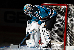 January 22, 2011; San Jose, CA, USA; San Jose Sharks goalie Antti Niemi (31) is introduced before the game against the Minnesota Wild at HP Pavilion. Mandatory Credit: Jason O. Watson / US PRESSWIRE