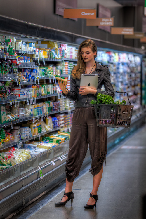 Safeway Supermarket - VICTORIA HARBOUR.  Model Erika Riebesell (Associated Models) M# 0434 128 818. Story on the future of shopping, how technology is changing shopping. Pic By Craig Sillitoe CSZ/The Sunday Age.24/6/2011 melbourne photographers, commercial photographers, industrial photographers, corporate photographer, architectural photographers, This photograph can be used for non commercial uses with attribution. Credit: Craig Sillitoe Photography / http://www.csillitoe.com<br />