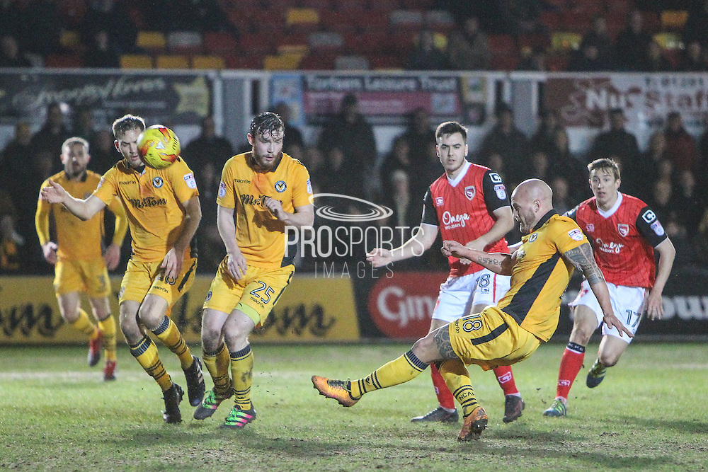 David Pipe of Newport County clears the ball during the EFL Sky Bet League 2 match between Newport County and Morecambe at Rodney Parade, Newport, Wales on 21 February 2017. Photo by Andrew Lewis.